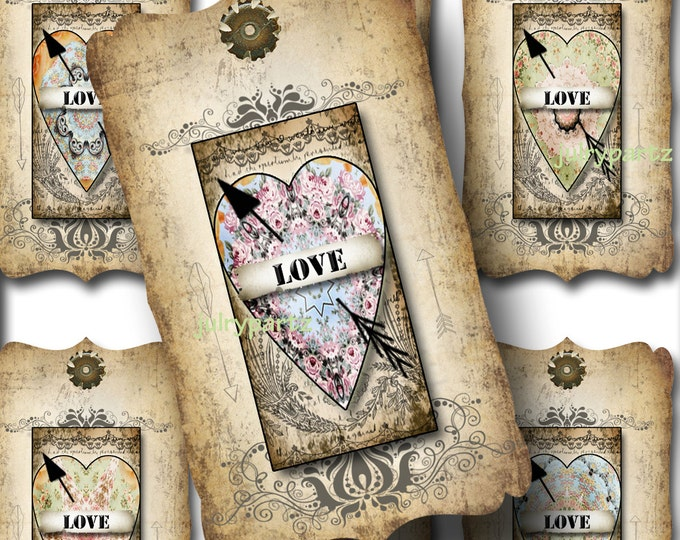 8 LOVE La Boheme Tags, Thank you tags, hang tags, flower tags, favor tags, gift tags, scrapbooking images