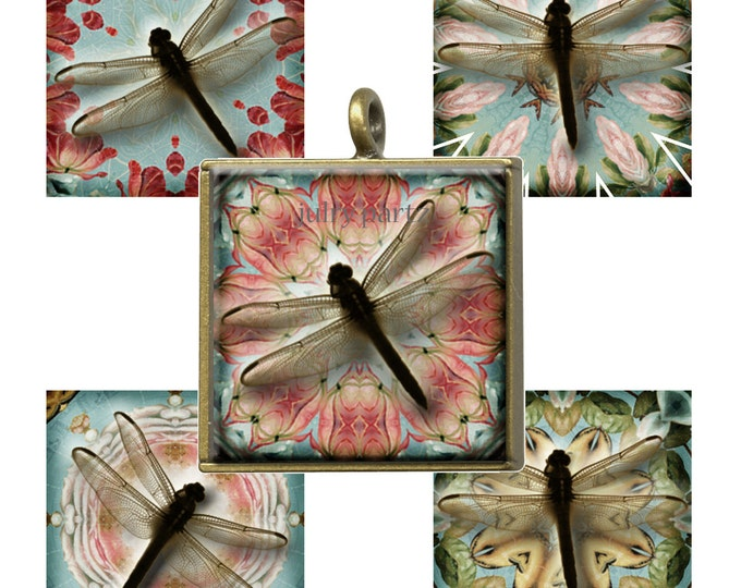 Dragonfly 1x1 Square,Printable Digital Images, Cards, Gift Tags, Scrabble Tiles, Yoga, Meditation