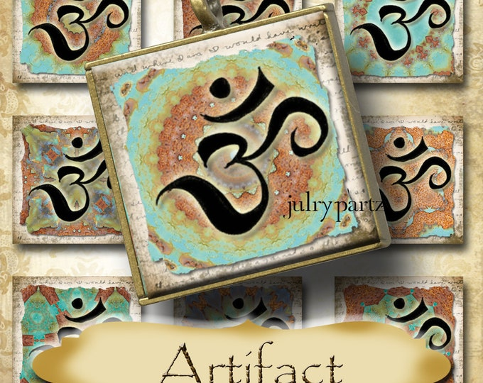 ARTIFACT•1x1 Rustic OM Square Images•Printable Digital Images•Cards•Gift Tags•Stickers•Magnets•Digital Collage Sheet