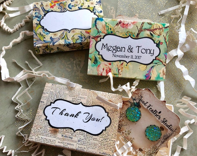 Set of 12 •2x2.60 GIFT BOX•Necklace Box•Jewelry Box•Necklace Holder•Gift Packaging•Earring Holder•Necklace Holder• Shabby Floral 5