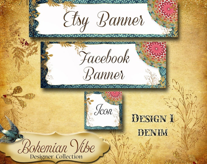 Custom SHOP BANNER Set•Facebook Cover•Boho Vibe Design 1