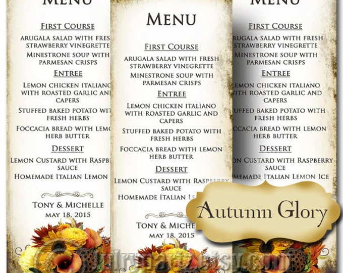 AUTUMN GLORY , Wedding Menu, Printable Digital Images, Weddings, Parties, Bridal Shower, Baby Shower, Birthday, Wedding Decorations