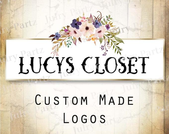 LOGO in Purple Posie LUCY•Premade Logo•Jewelry Card Logo•Flower Logo•Custom Logo•Shop Logo