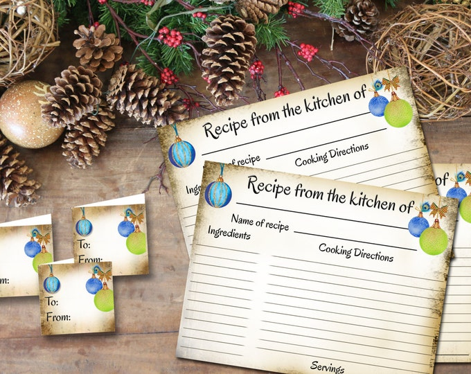 Blue Ornament RECIPE CARD and Tags, Recipe Card, Wedding Gift, New Home