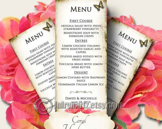 CORAL HYDRANGEA Wedding Menu, Printable Digital Images, Weddings, Parties, Bridal Shower, Menu,Baby Shower, Birthday, Wedding Decorations