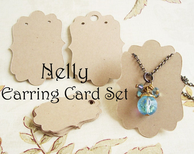 Long NELLY•Earring Card and Tag Set•Jewelry Cards•Earring Display•Earring Holder•Bracelet tag•48 cards and 50 tags