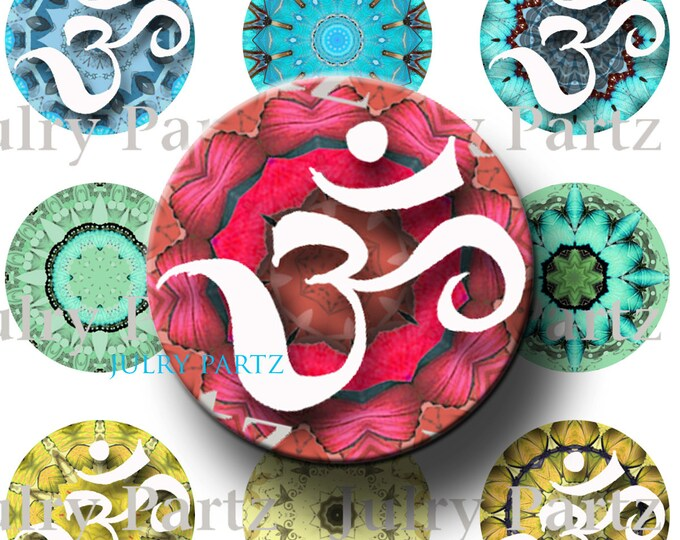 OM Chakra Mandalas 1x1 Round,Printable Digital Image,Digital Collage,Healing Mandalas,Magnets,Gift Tags,Scrabble Tiles,Yoga, Meditation