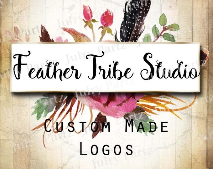LOGO in FEATHER Tribe•Premade Logo•Jewelry Card Logo•Flower Logo•Custom Logo•Shop Logo