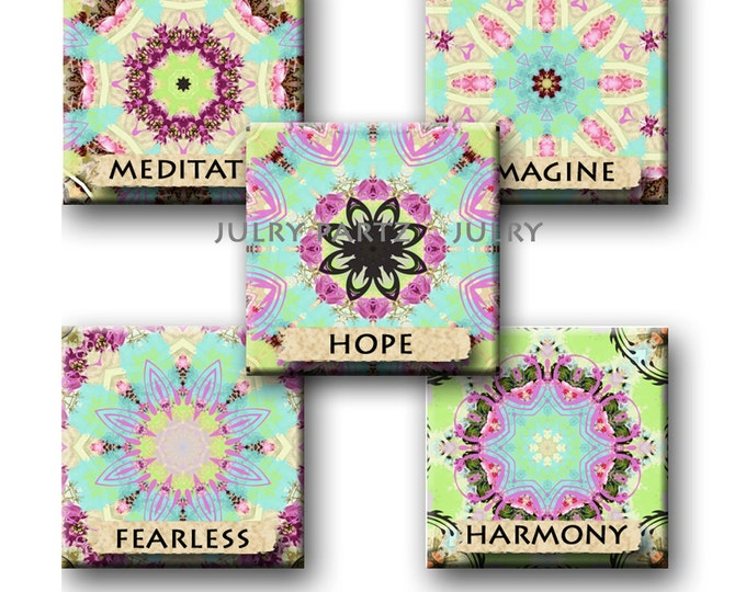Shabby Affirmation, 1x1, 1x2 Domino, Printable Digital Images, Cards, Gift Tags, Scrabble Tiles, Magnets