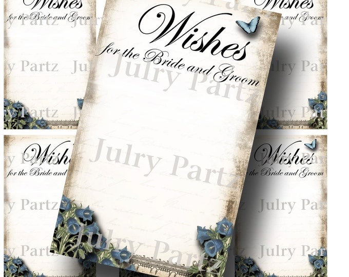 Le Jardin BLUEBELL Wedding Wish Tags, Wish Tree Cards, Printable, DIY Weddings, Bridal Shower, Wedding Shower, Wedding Decoration