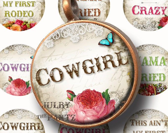 COWGIRL 1x1 round, Printable Digital Images, Cards, Gift Tags, Stickers, Scrabble Tiles, Magnets, southwest, junk gypsy style