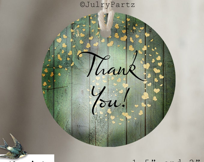 DIY GREEN Heart•Thank You Tags•Printable Tags•Digital Tags•Favor Tags