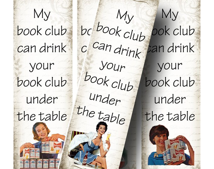 BOOKCLUB Bookmarks, Bookmark, Rectangle Image ,Printable Digital Images, Cards, Gift Tags, Books