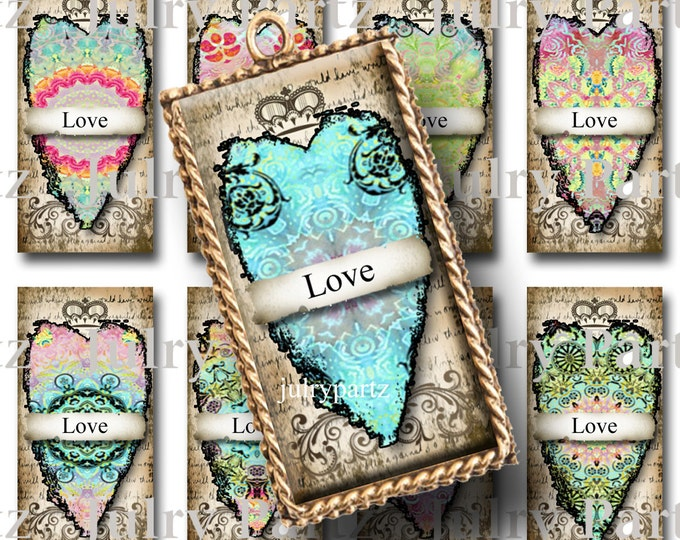 NEBULA HEARTS, 1x2 images, Printable Digital Images, Cards, Gift Tags, domino, Magnets