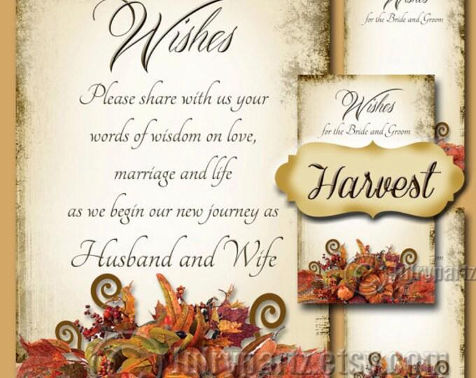HARVEST, Set of Wedding Wish Sign and Tags, Wish Tree Cards, Printable,DIY Weddings, Bridal Shower, Wedding Shower, Wedding Decoration