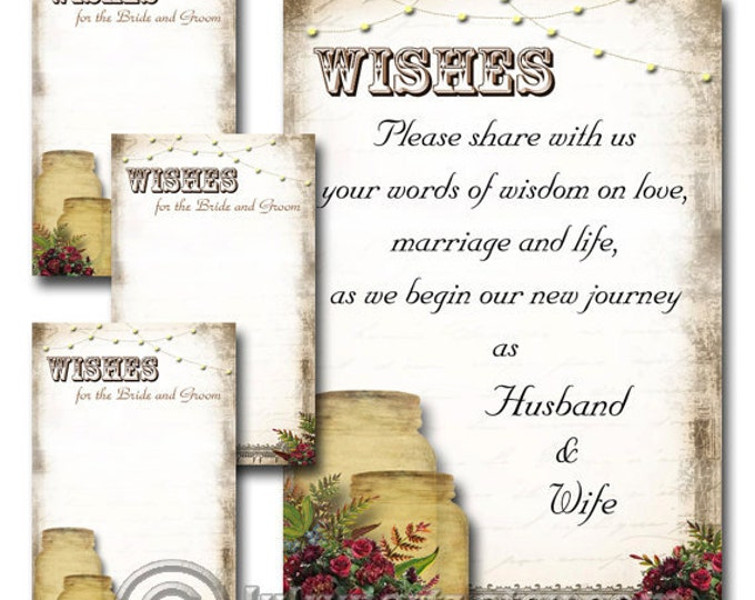 Wine Color Set of MASON JAR Rustic Wedding Wish Sign and Tags, Wish Tree Cards, Printable, DIY Weddings, Wedding Shower, Wedding Decoration