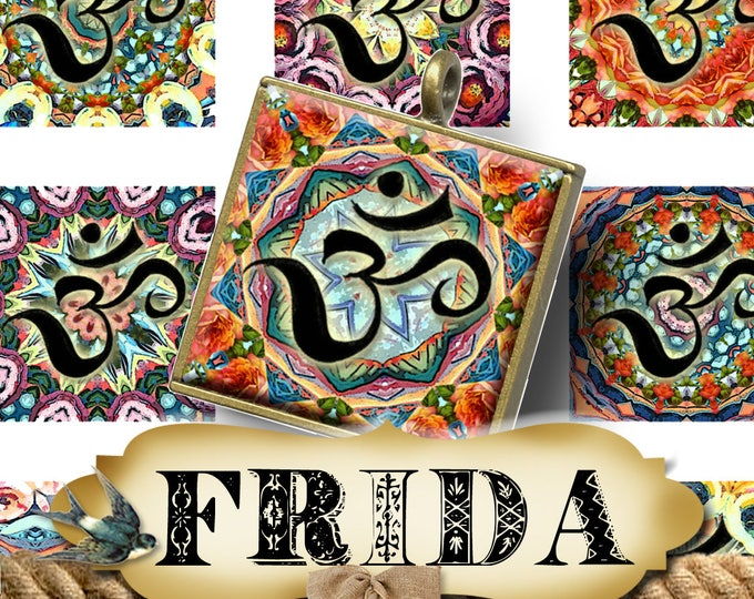 FRIDA OM•1x1 Square Images•Printable Digital Images•Cards•Gift Tags•Stickers•Magnets•Digital Collage Sheet