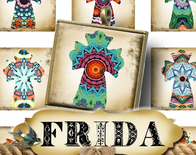 FRIDA•1x1 Square CROSS Images•Printable Digital Images•Cards•Gift Tags•Stickers•Magnets•Digital Collage Sheet