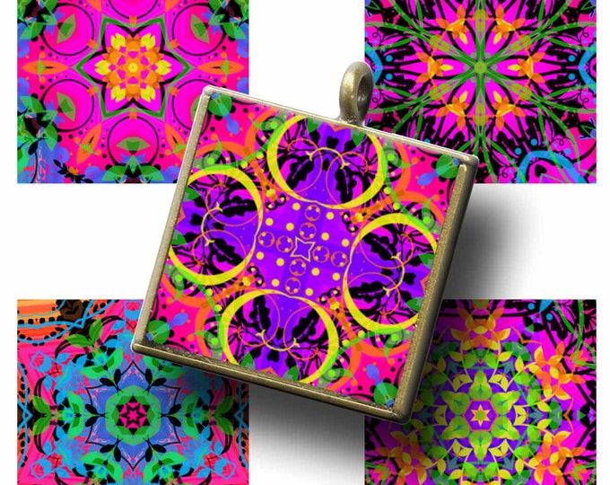 PSYCHEDELIC 70'S 1x1 ,  Printable Digital Images, Cards, Gift Tags, Scrabble Tiles, Magnets, boho