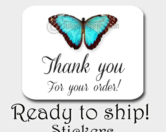 30•TEAL BUTTERFLY STICKERS•Rectangle Labels•Package Labels•Custom Stickers•Custom Labels•Packaging