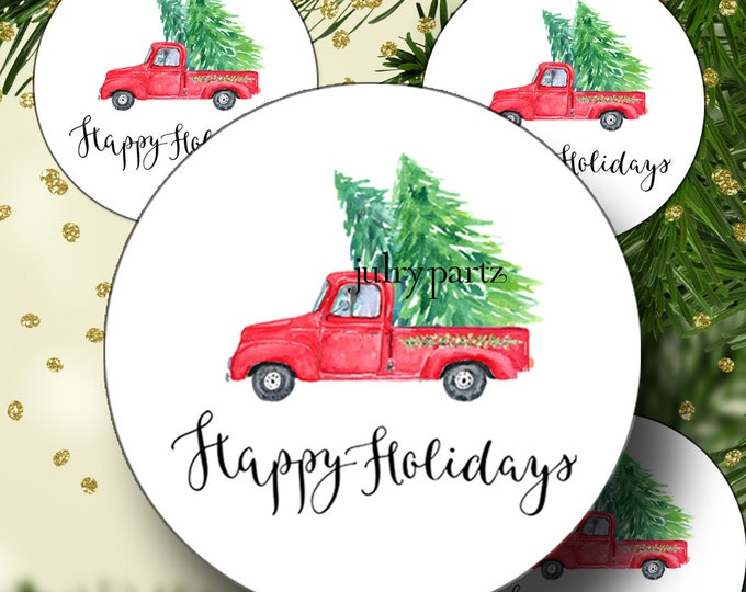 PREMADE•60 Custom 1.5 x 1.5 Round STICKERS•Labels•Tags•Package Labels•Custom Stickers•Custom Labels•Red Truck Holiday