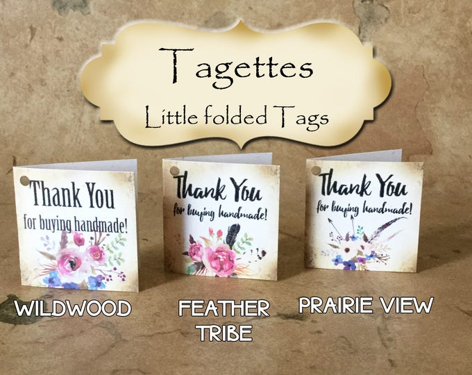 60-TAGETTES•Floral Mix•Mini Tags•Hang tags•Gift Tags•Favor Tags•Paper Tags•Price Tags•Clothing Tags