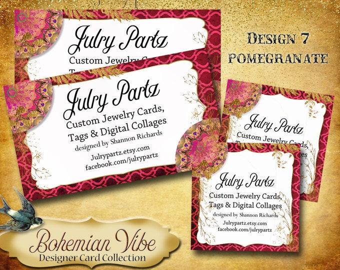 BOHEMIAN VIBES Business Cards•Designer Card Collection•Custom Business Cards•Custom Cards •Custom Calling Cards•Design 7 Pomegranate