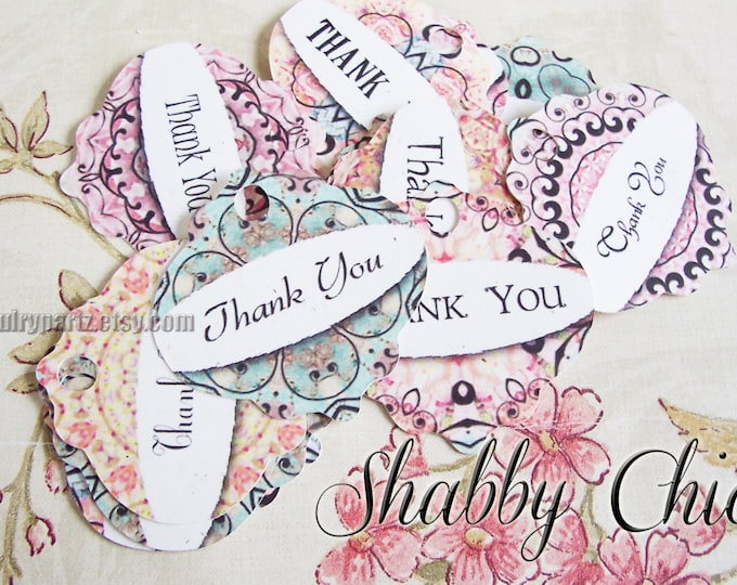 64•SHABBY CHIC•Hang Tags•2x2 inch•Thank You Tags•Hang Tags•Favor Tags