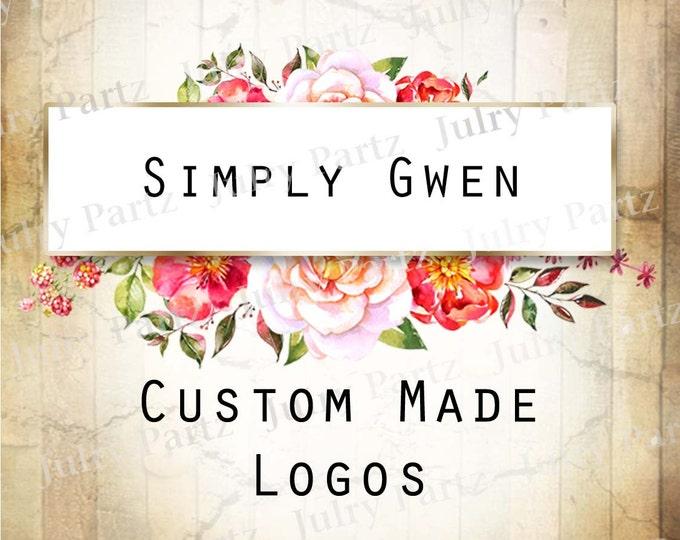 LOGO in Dog Rose GWEN (behind)•Premade Logo•Jewelry Card Logo•Flower Logo•Custom Logo•Shop Logo