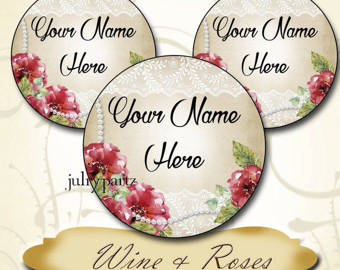 60•Custom 1.5 x 1.5 Round STICKERS•Labels•Tags•Package Labels•Custom Stickers•Custom Labels•Wine & Roses