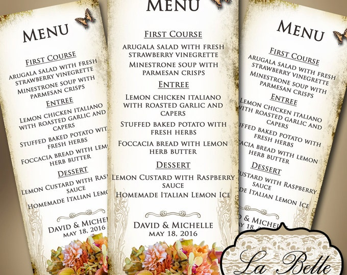 LA BELLE Wedding Menu, Printable Digital Images, Weddings, Parties, Bridal Shower, Menu,Baby Shower, Birthday, Wedding Decorations