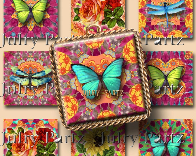 PELES GARDEN 1x1 square images, Printable Digital Images, Cards, Gift Tags, Stickers, Scrabble Tiles, Magnets