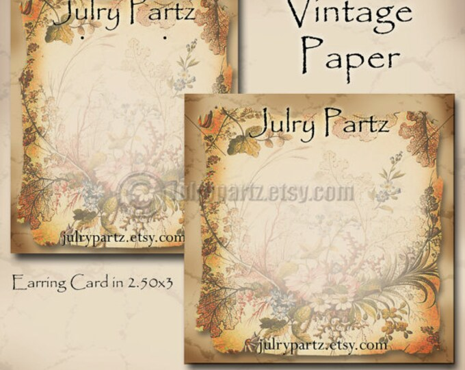 DIY VINTAGE Paper#2, Earring Cards, Jewelry cards,Tent Card,Earring Display,Earring Card,Necklace Holder, DIY Jewelry Cards, Printable Cards