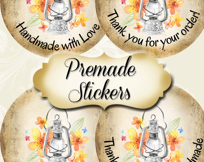 PREMADE•60 Custom 1.5 x 1.5 Round STICKERS•Labels•Tags•Package Labels•Custom Stickers•Custom Labels•MAGIC Lamp 1 Rustic
