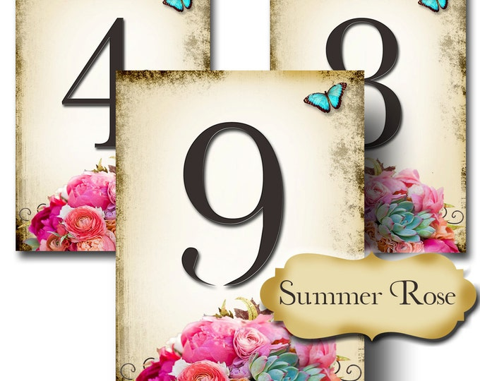 SUMMER ROSE, Wedding Table Number, 5x7, Printable, Weddings, Parties, Bridal Shower, Baby Shower, Seating Numbers, wedding decoration