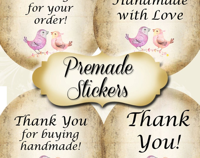 PREMADE•60 Custom 1.5 x 1.5 Round STICKERS•Round Labels•Tags•Package Labels•Custom Stickers•Custom Labels•Packaging•2 Birds Series