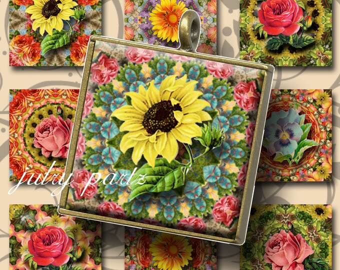 AUGUST GARDEN with Flowers 1x1 , Printable Digital Images, Cards, Gift Tags, Scrabble Tiles, Magnets