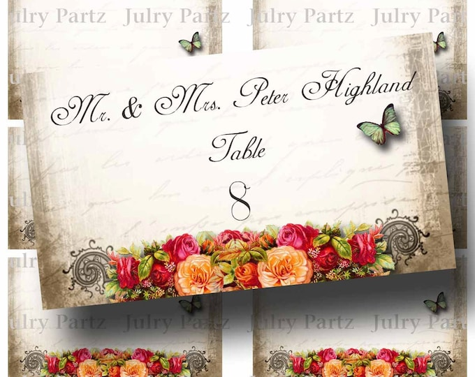 Guest Table FLAT Placard, Le Jardin BOUQUET, 3.5x2, Printable, Weddings, Bridal Shower, Baby Shower, Seating Numbers, wedding decoration