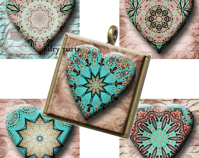 COWGIRL LOVE, Mandalas ,1x1 Square Tile,Printable Digital Images, Cards, Gift Tags, Scrabble Tiles, Yoga, Meditation, junk gypsy style