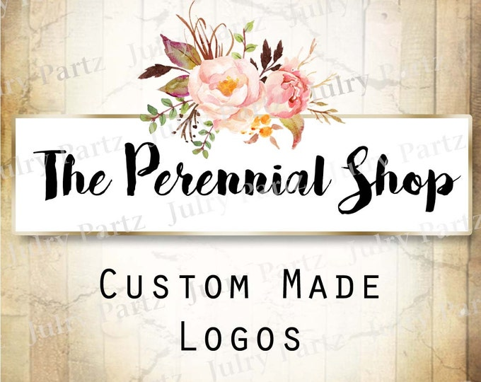 LOGO in Pink PERENNIAL( top)•Premade Logo•Jewelry Card Logo•Flower Logo•Custom Logo•Shop Logo