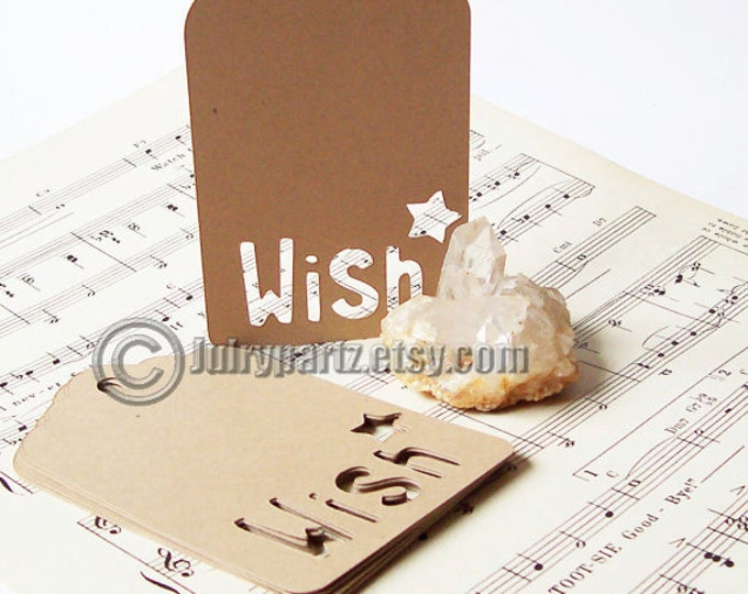 25 WISH Tags with Star, Gift Tags, Shower Favor Tags, Favor Tags, Heart Tags, Wedding Tags