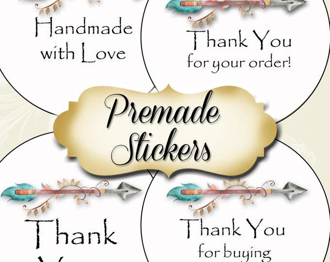 PREMADE•60 Custom 1.5 x 1.5 Round STICKERS•Round Labels•Tags•Package Labels•Custom Stickers•Custom Labels•Packaging•Arrow 2 Series