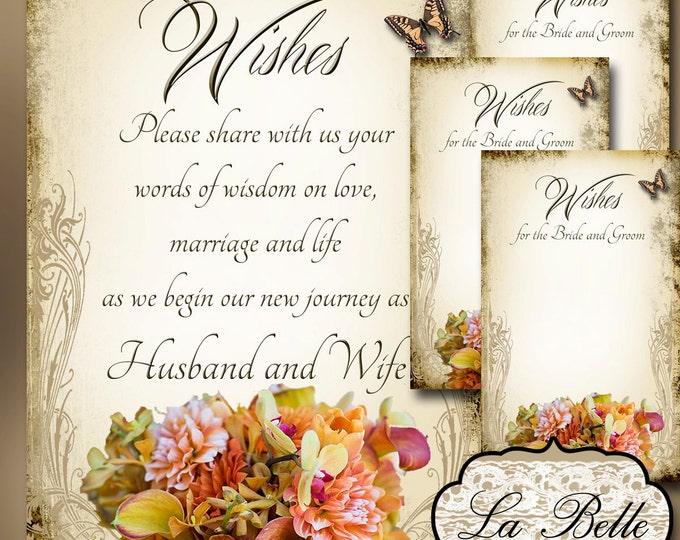 LA BELLE Set of Wedding Wish Sign and Tags, Wish Tree Cards, Wedding Wish Tags, Wish Tags, Bridal Shower, Wedding Shower, Boho Wedding