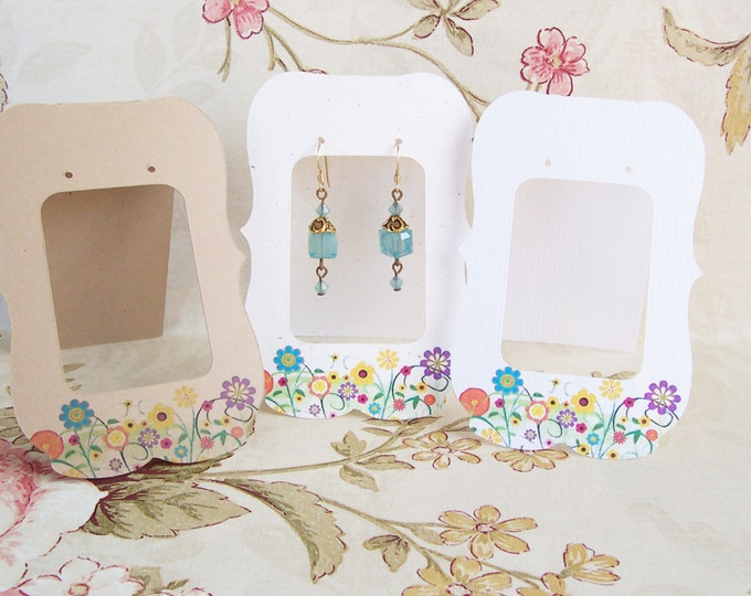24 Lg ZOE with Sallys Garden, 2.5 x 3.5 inch Tent Cards,EARRING CARDS,Jewelry cards,Earring Display, Earring Card, Earring Holder, stud card
