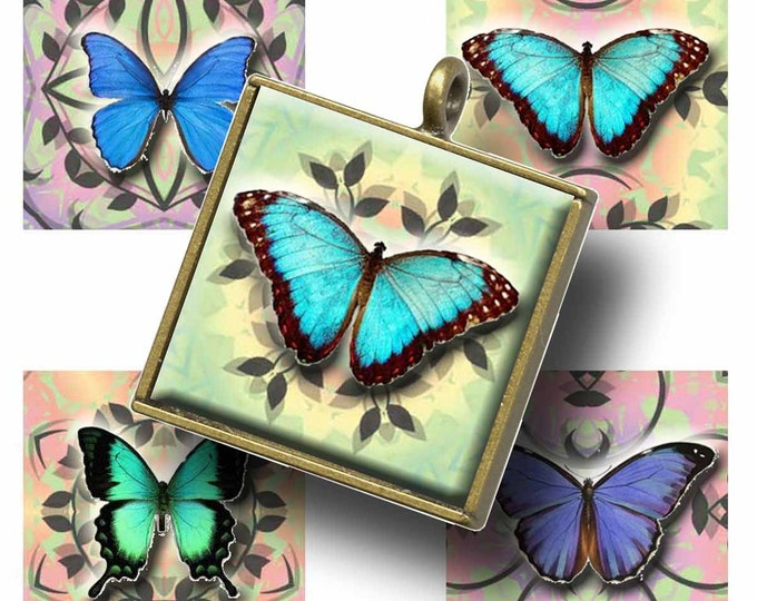BUTTERFLY TROPICS 1x1 Tiles, Printable Digital Images, Cards, Gift Tags, Scrabble Tiles, Yoga, Meditation