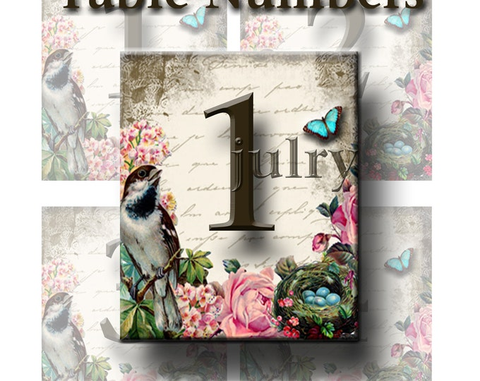WeddingTable Numbers 3 3/4 x 4 1/4,Bird and Roses, Printable Digital Images, Weddings, Bridal Shower, Baby Shower, Birthday, Seating Numbers