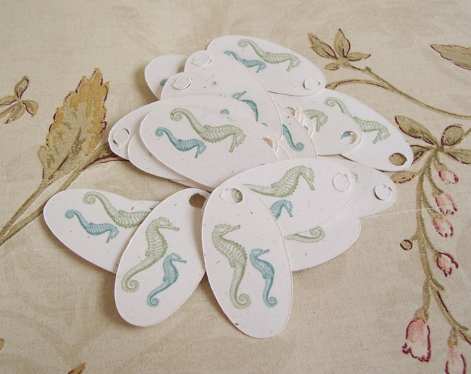 40•SEAHORSE•Oval Tags•1.5x.75•Gift Tags•Favor Tags•Price Tags•Favor Tags•Thank You Tags•Necklace Tags•Bracelet Tags