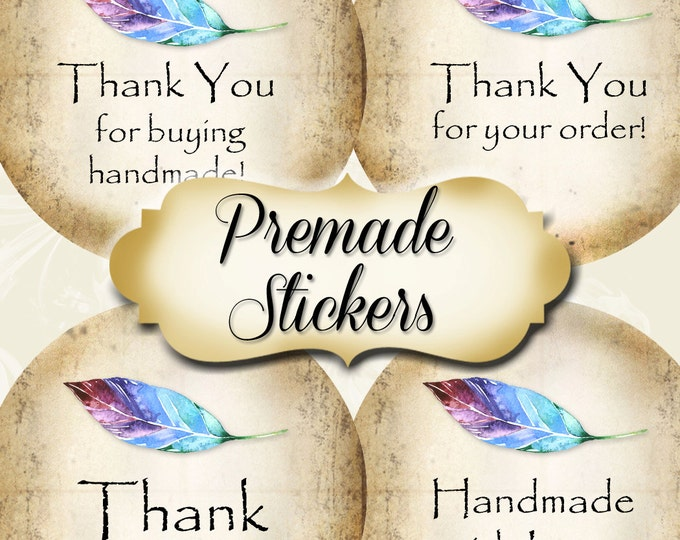 PREMADE•60 Custom 1.5 x 1.5 Round STICKERS•Labels•Tags•Package Labels•Custom Stickers•Custom Labels•Blue FEATHER Rustic