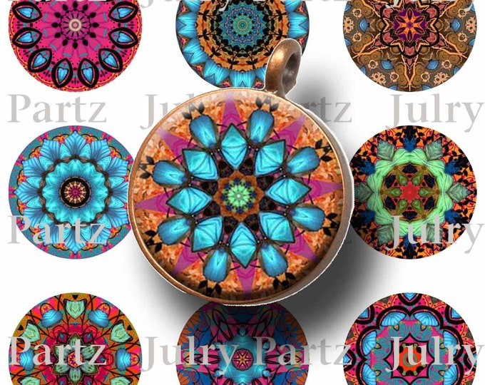 TAPESTRY Healing Mandalas, 1x1 Circle Images,  Printable Digital Images, Cards, Gift Tags, Scrabble Tiles, Magnets