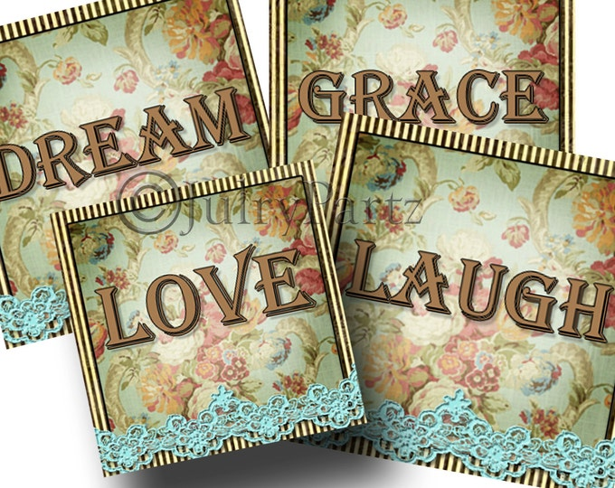 SHABBY LACE•4x4 square•Printable Digital Images•Cards•Gift Tags•Coasters